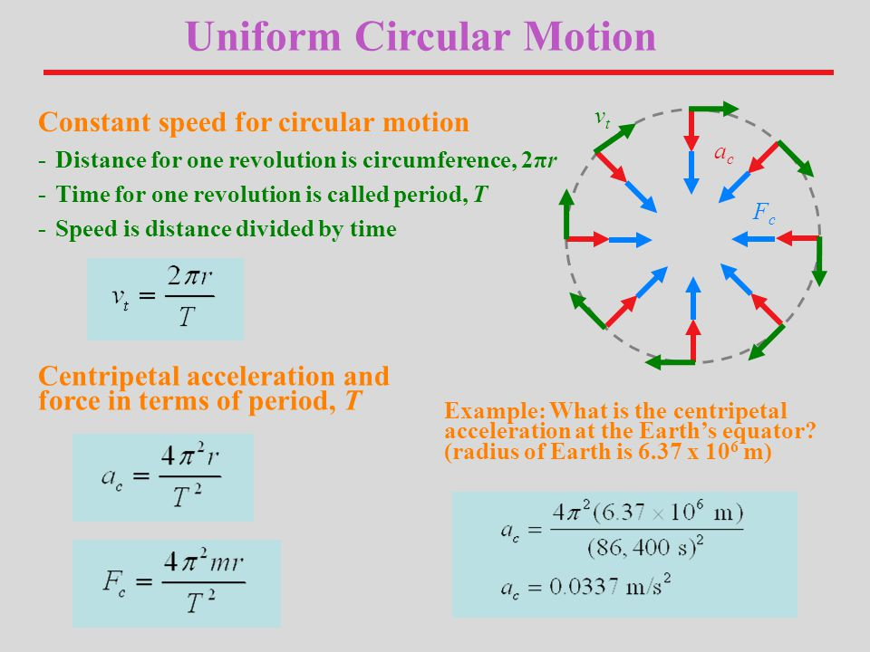 Uniform Circular Motion Constant speed for circular motion -Distance for one revolution is circumference, 2πr -Time for one revolution is called period, T -Speed is distance divided by time Centripetal acceleration and force in terms of period, T Example: What is the centripetal acceleration at the Earth's equator.