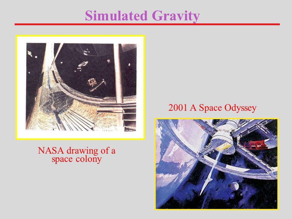 Simulated Gravity 2001 A Space Odyssey NASA drawing of a space colony