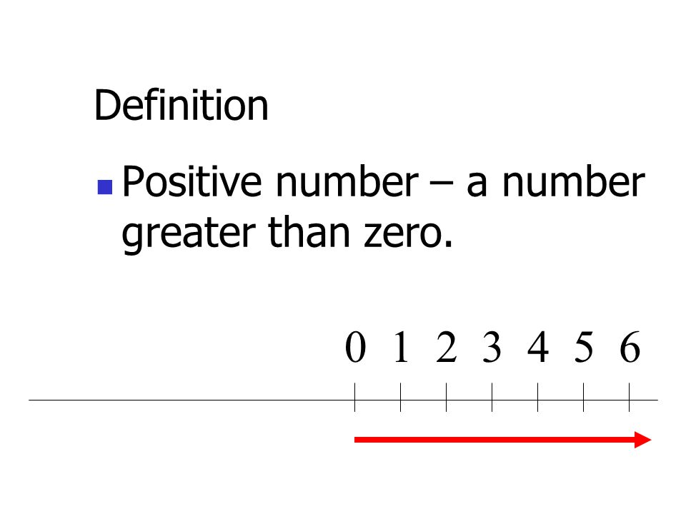 Definition Positive number – a greater than zero