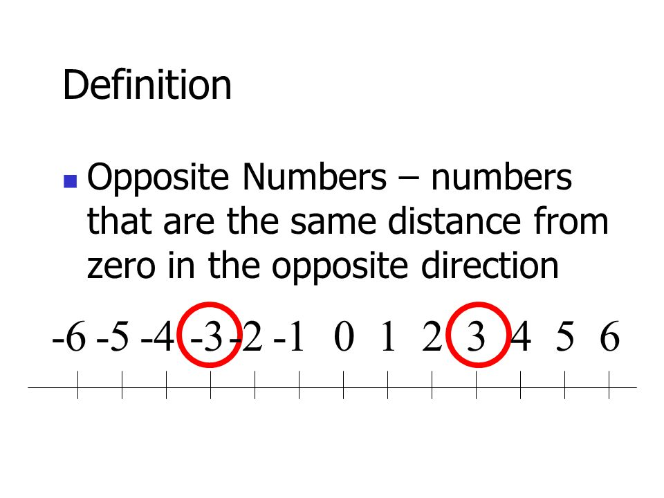 Definition Opposite Numbers – numbers that are the same distance from zero in the opposite direction