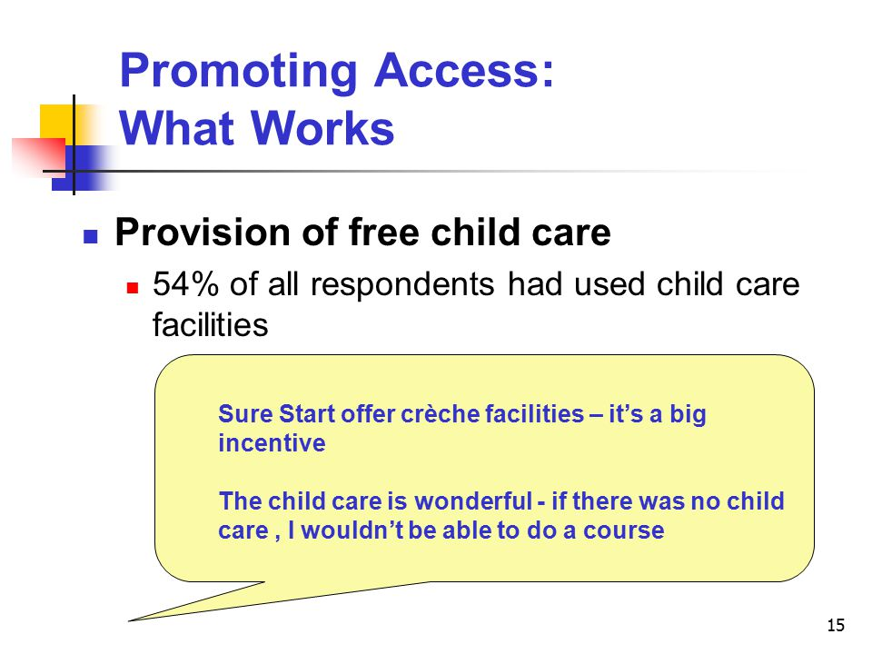 15 Promoting Access: What Works Provision of free child care 54% of all respondents had used child care facilities Sure Start offer crèche facilities – it's a big incentive The child care is wonderful - if there was no child care, I wouldn't be able to do a course