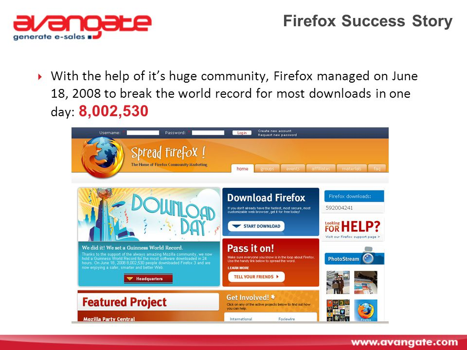 Firefox Success Story  With the help of it's huge community, Firefox managed on June 18, 2008 to break the world record for most downloads in one day: 8,002,530