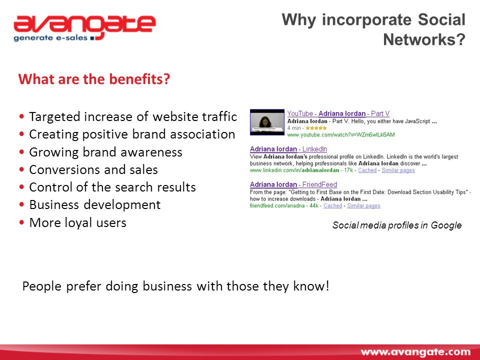 Why incorporate Social Networks. What are the benefits.