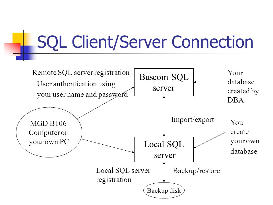 SQL Client/Server Connection Buscom SQL server Local SQL server MGD B106 Computer or your own PC Remote SQL server registration User authentication using your user name and password Local SQL server registration Import/export Backup disk Backup / restore Your database created by DBA You create your own database