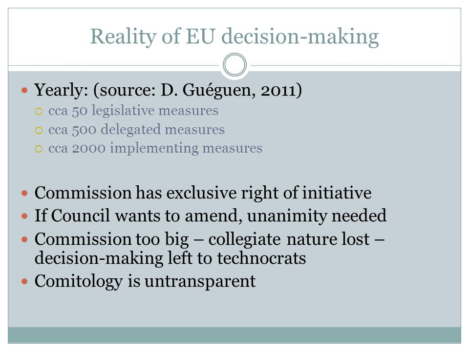 Reality of EU decision-making Yearly: (source: D.