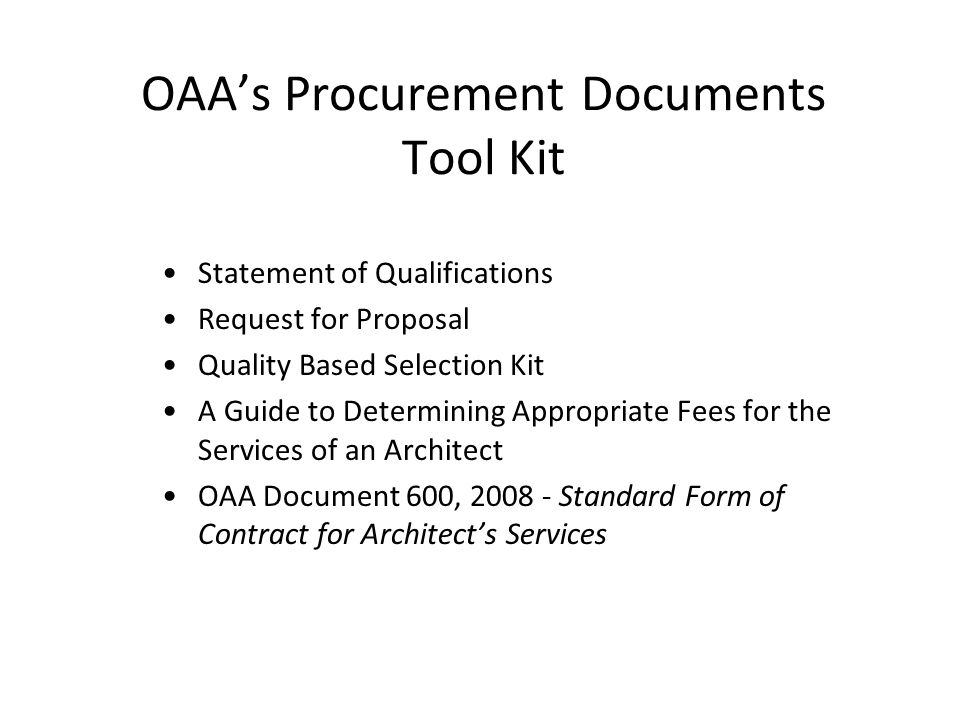 Model Procurement Documents for Architectural Services [NAME