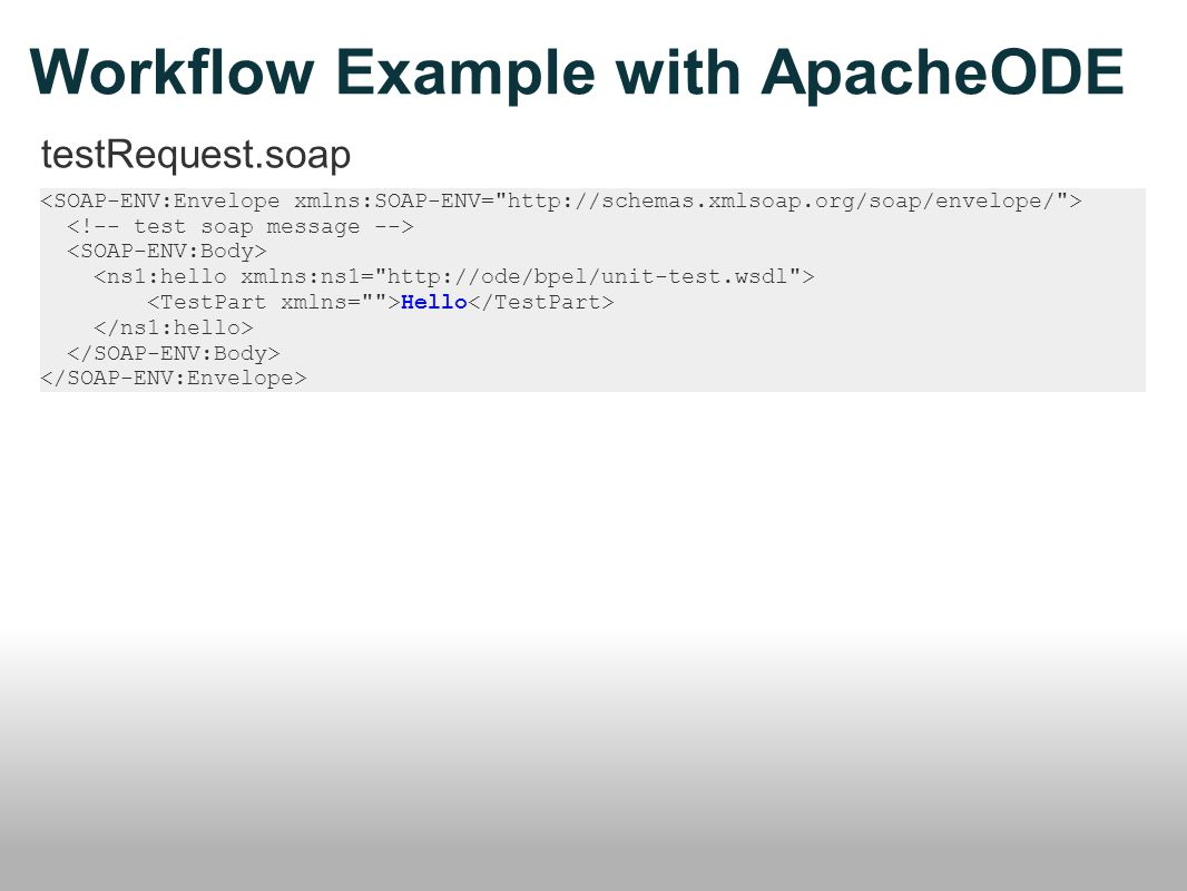 Workflow Example with ApacheODE testRequest.soap Hello