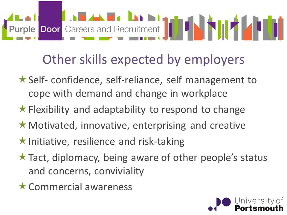 Other skills expected by employers  Self- confidence, self-reliance, self management to cope with demand and change in workplace  Flexibility and adaptability to respond to change  Motivated, innovative, enterprising and creative  Initiative, resilience and risk-taking  Tact, diplomacy, being aware of other people's status and concerns, conviviality  Commercial awareness