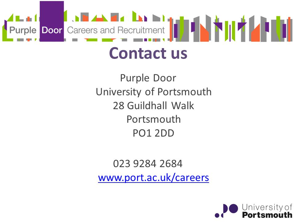 Contact us Purple Door University of Portsmouth 28 Guildhall Walk Portsmouth PO1 2DD