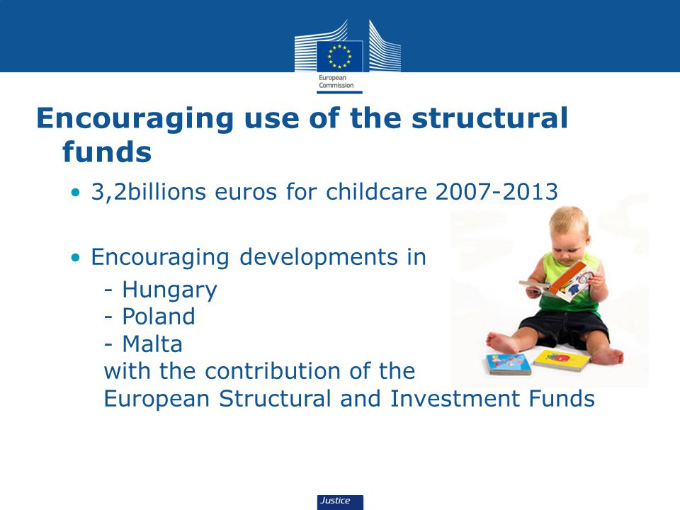 3,2billions euros for childcare Encouraging developments in - Hungary - Poland - Malta with the contribution of the European Structural and Investment Funds Encouraging use of the structural funds