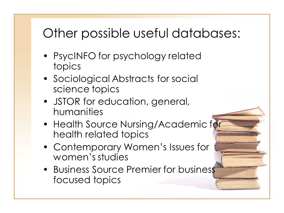 Other possible useful databases: PsycINFO for psychology related topics Sociological Abstracts for social science topics JSTOR for education, general, humanities Health Source Nursing/Academic for health related topics Contemporary Women's Issues for women's studies Business Source Premier for business focused topics
