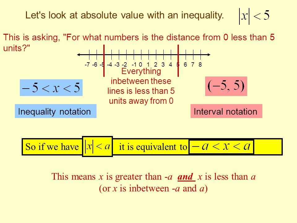 Let s look at absolute value with an inequality.