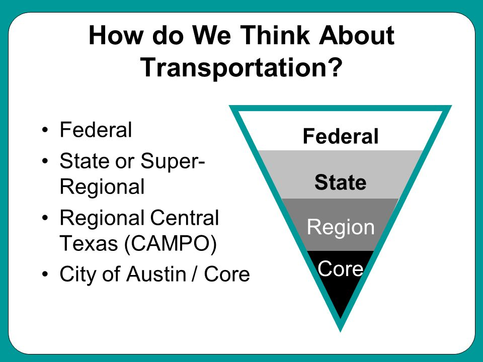How do We Think About Transportation.