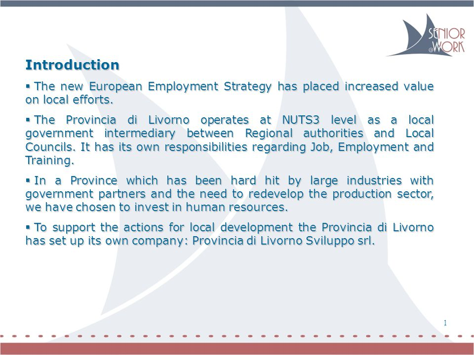 Introduction  The new European Employment Strategy has placed increased value on local efforts.