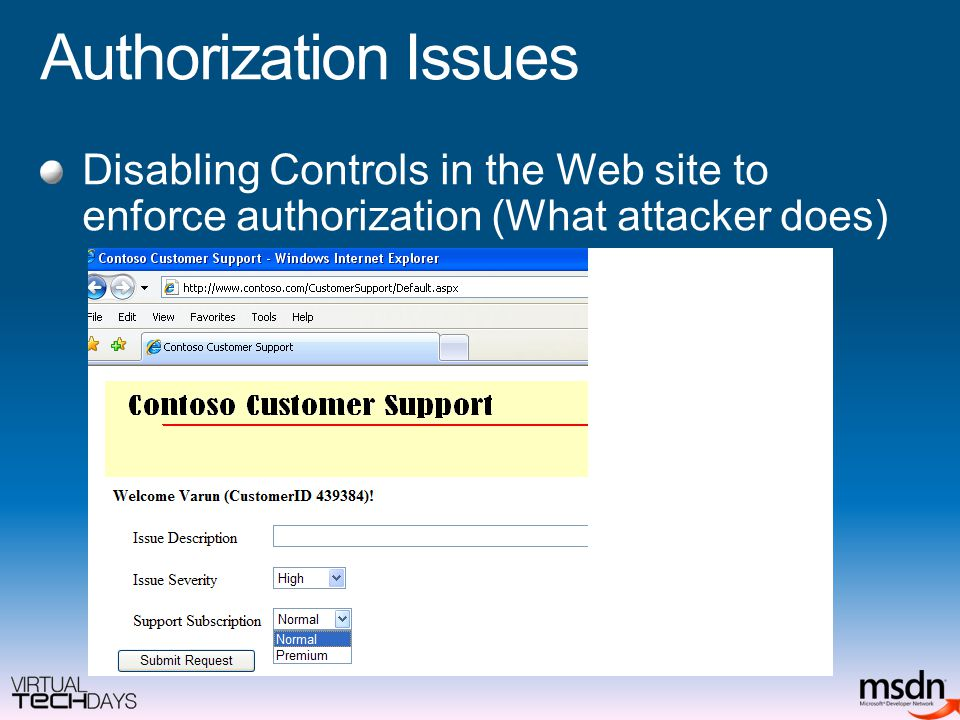 Authorization Issues Disabling Controls in the Web site to enforce authorization (What attacker does)