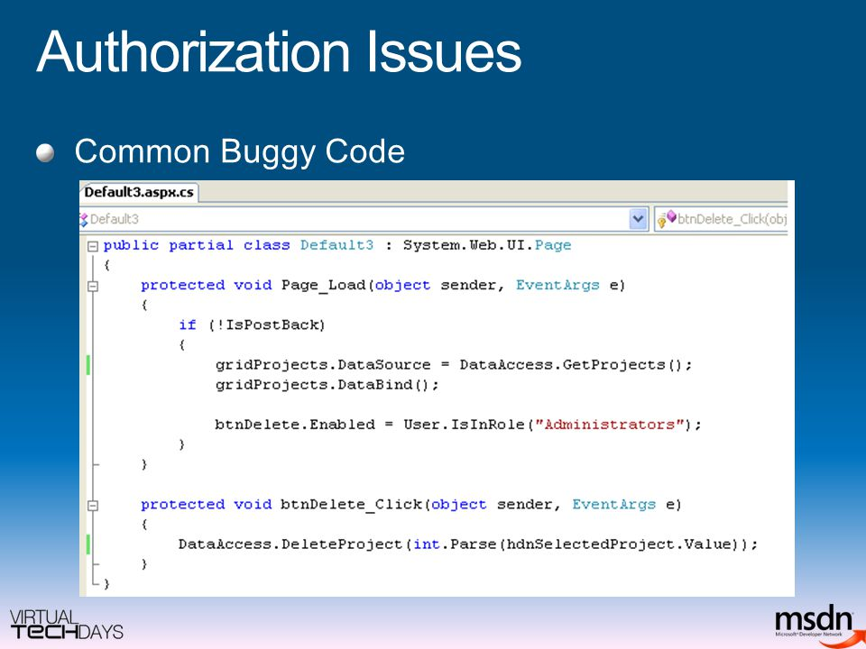 Authorization Issues Common Buggy Code