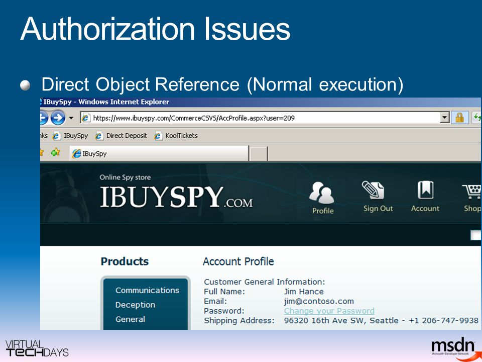 Authorization Issues Direct Object Reference (Normal execution)
