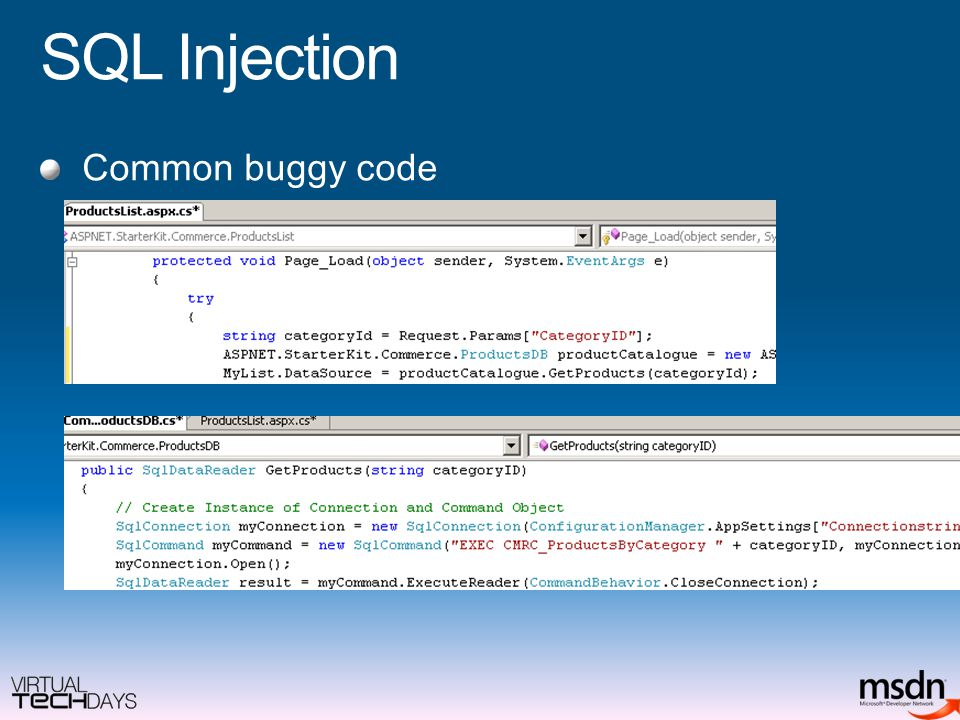 SQL Injection Common buggy code