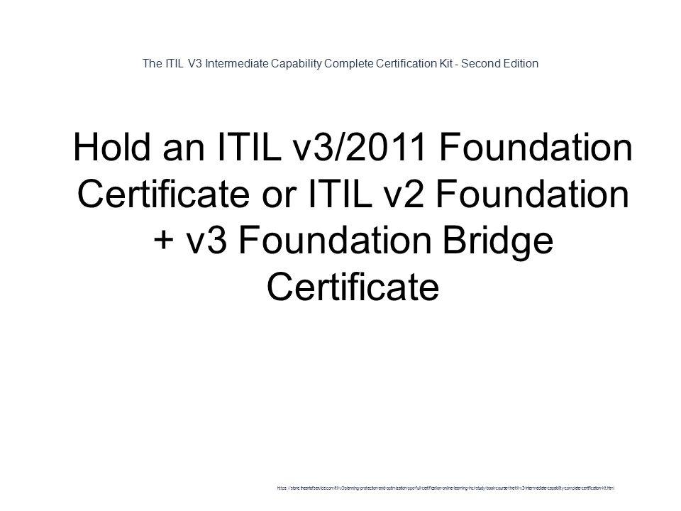 The Itil V3 Intermediate Capability Complete Certification Kit