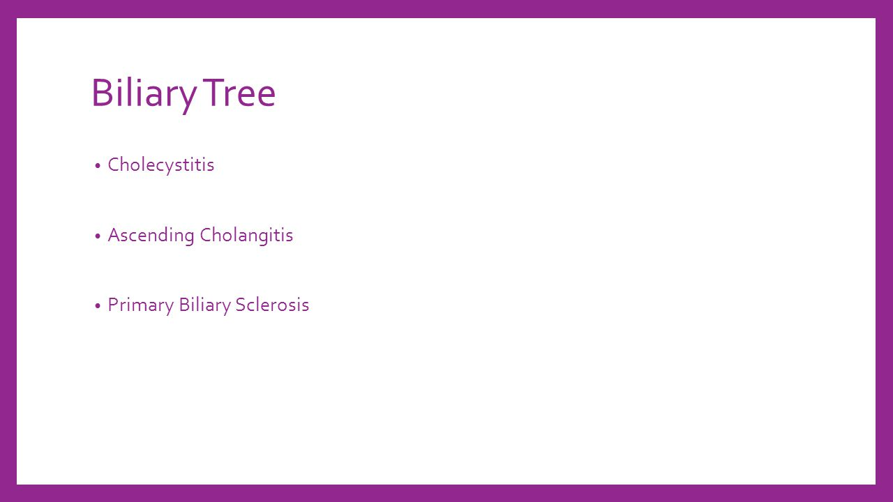 Biliary Tree Cholecystitis Ascending Cholangitis Primary Biliary Sclerosis