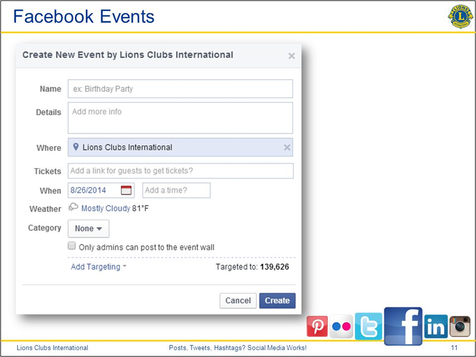 11Lions Clubs InternationalPosts, Tweets, Hashtags Social Media Works! Facebook Events