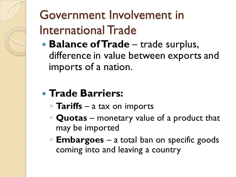 Government Involvement in International Trade Balance of Trade – trade surplus, difference in value between exports and imports of a nation.