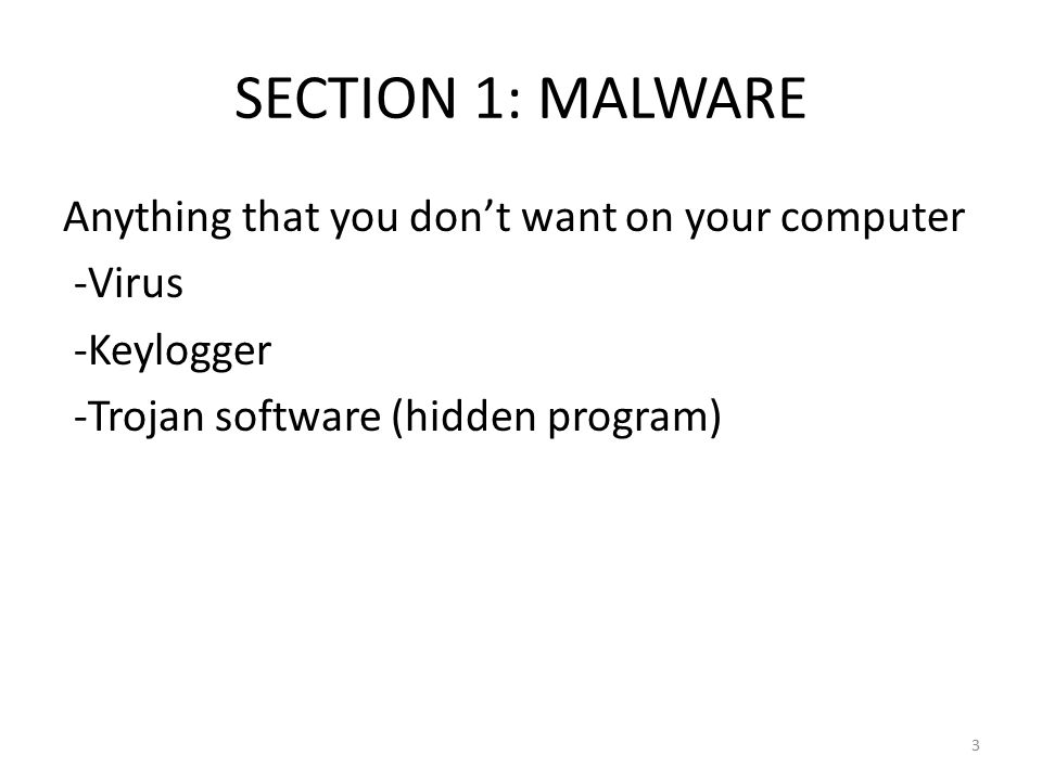 SECTION 1: MALWARE Anything that you don't want on your computer -Virus -Keylogger -Trojan software (hidden program) 3