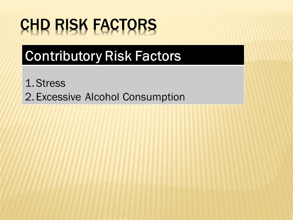 Contributory Risk Factors 1.Stress 2.Excessive Alcohol Consumption