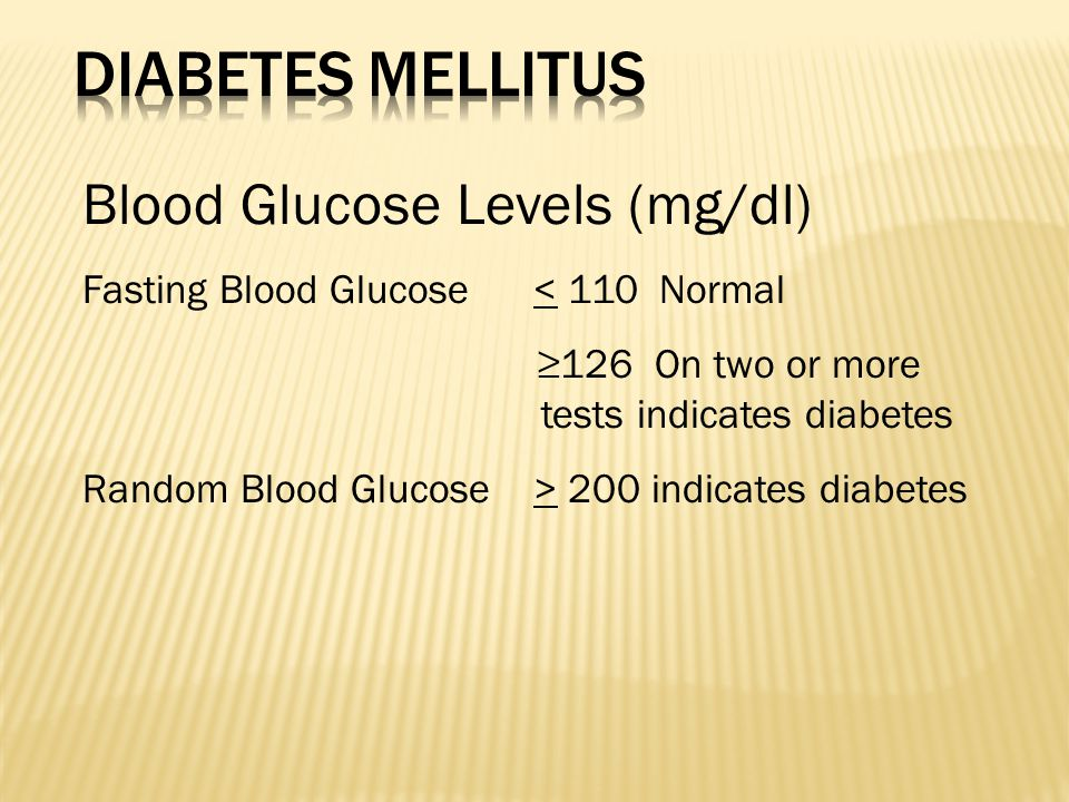 Blood Glucose Levels (mg/dl) Fasting Blood Glucose < 110 Normal ≥126 On two or more tests indicates diabetes Random Blood Glucose > 200 indicates diabetes