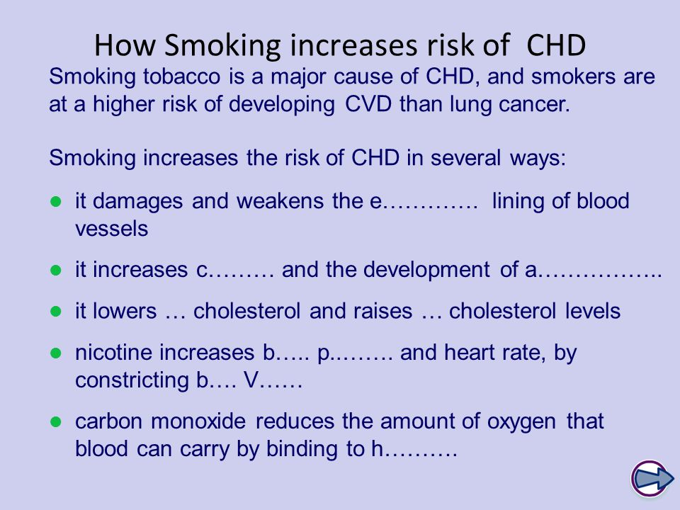 How Smoking increases risk of CHD Smoking tobacco is a major cause of CHD, and smokers are at a higher risk of developing CVD than lung cancer.