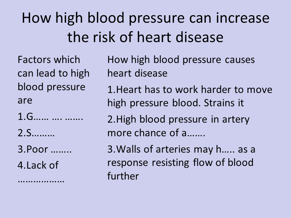 How high blood pressure can increase the risk of heart disease Factors which can lead to high blood pressure are 1.G…… ….