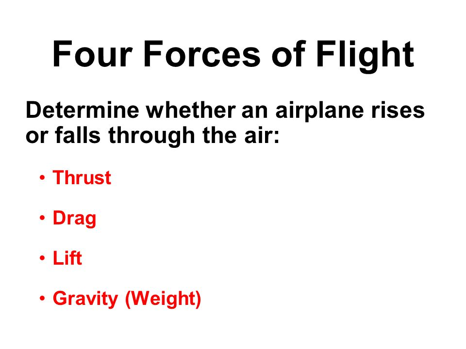 Determine whether an airplane rises or falls through the air: Thrust Drag Lift Gravity (Weight) Four Forces of Flight