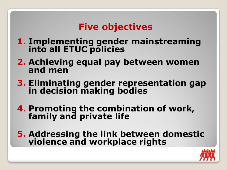 Five objectives 1.Implementing gender mainstreaming into all ETUC policies 2.Achieving equal pay between women and men 3.Eliminating gender representation gap in decision making bodies 4.Promoting the combination of work, family and private life 5.Addressing the link between domestic violence and workplace rights