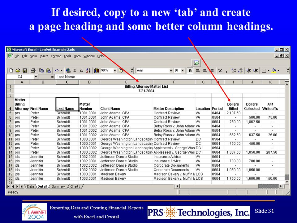 Exporting Data and Creating Financial Reports with Excel and