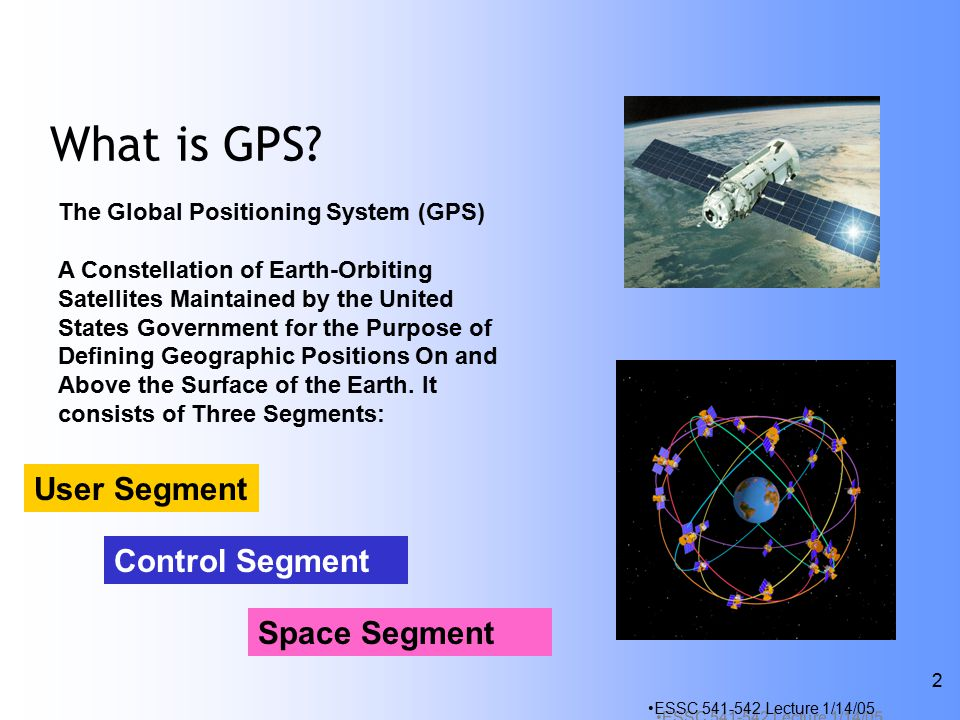 ESSC Lecture 1/14/05 2 What is GPS.