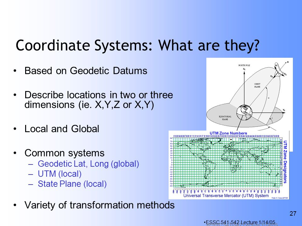 ESSC Lecture 1/14/05 27 Coordinate Systems: What are they.