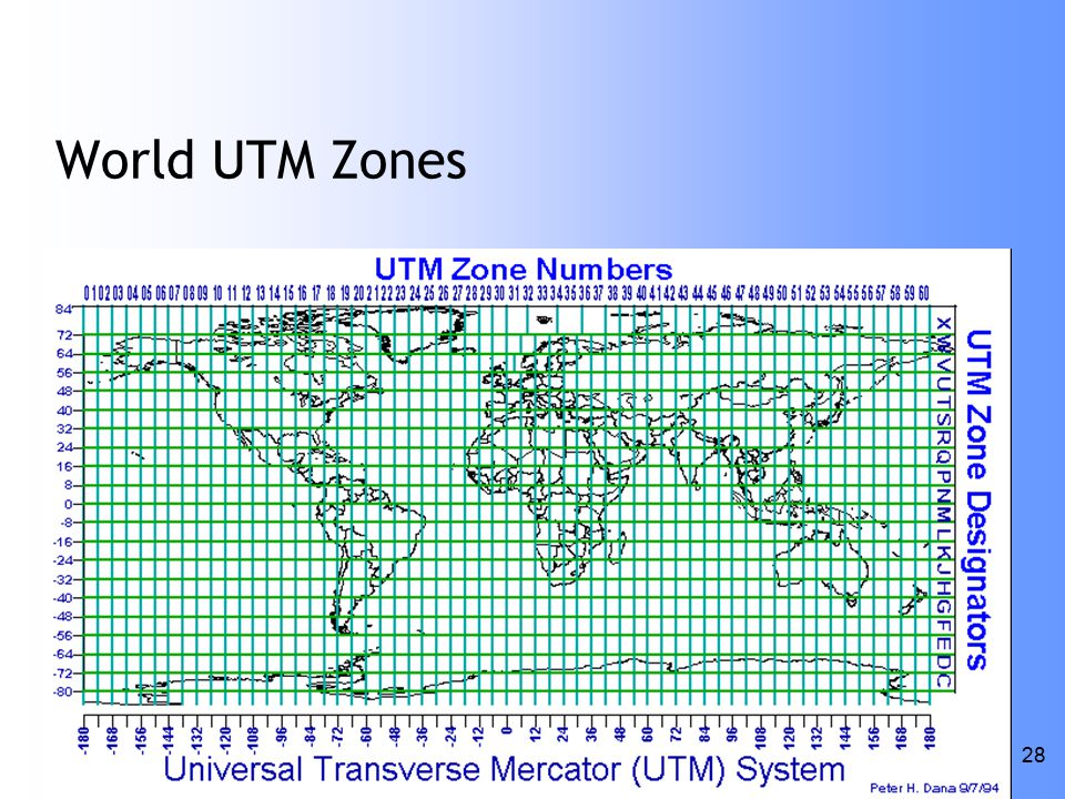 ESSC Lecture 1/14/05 28 World UTM Zones