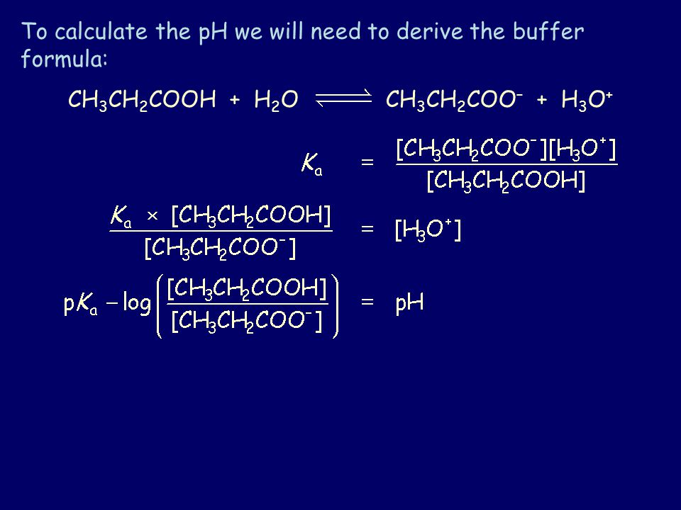 To calculate the pH we will need to derive the buffer formula: CH 3 CH 2 COOH + H 2 O CH 3 CH 2 COO – + H 3 O +