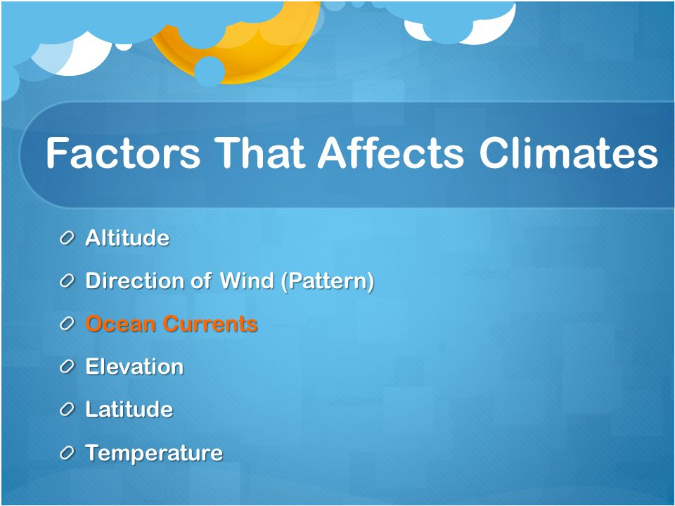Factors That Affects Climates Altitude Direction of Wind (Pattern) Ocean Currents ElevationLatitudeTemperature