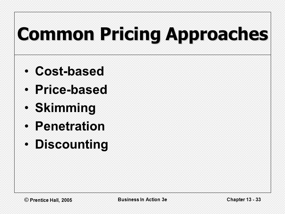 © Prentice Hall, 2005 Business In Action 3eChapter Common Pricing Approaches Cost-based Price-based Skimming Penetration Discounting