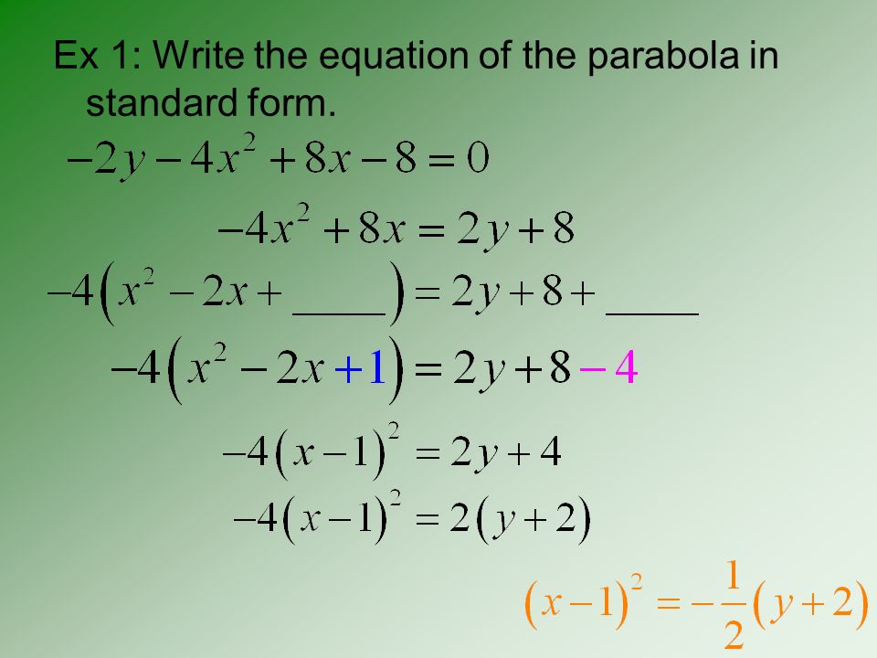 p: distance from the vertex to the focus and from the vertex to the directrix p p 2p Important note: The points on a parabola are symmetric across the Axis of Symmetry.
