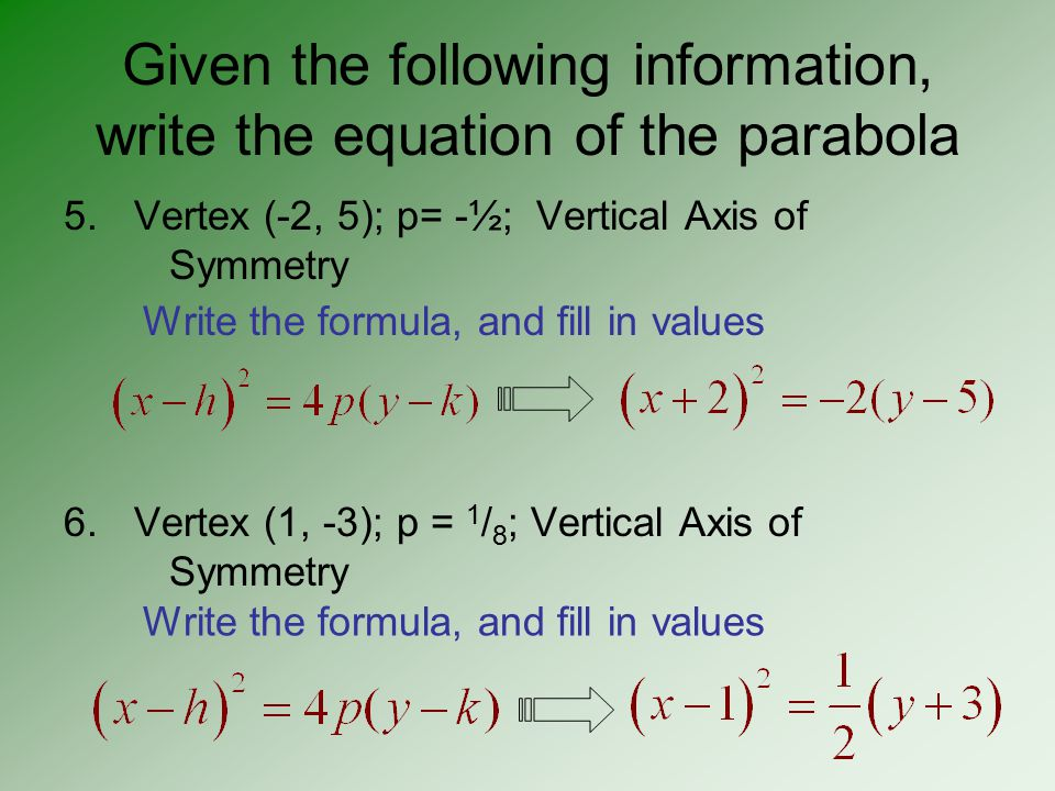 Decide whether the parabola has vertical or horizontal axis of symmetry, and tell which way the graph opens.