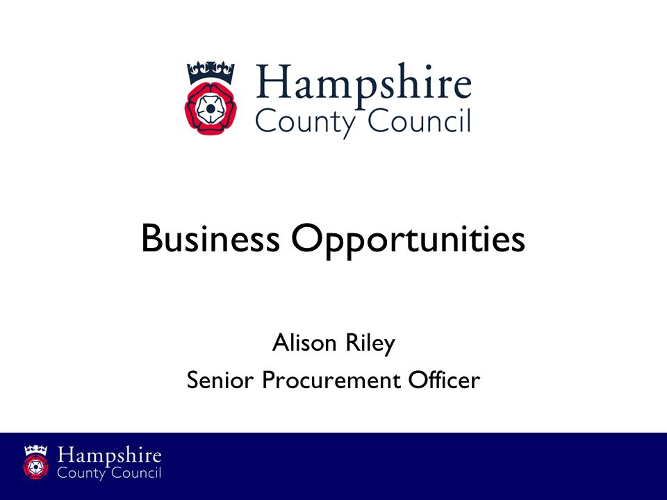 Business Opportunities Alison Riley Senior Procurement Officer