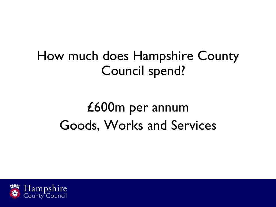 How much does Hampshire County Council spend £600m per annum Goods, Works and Services