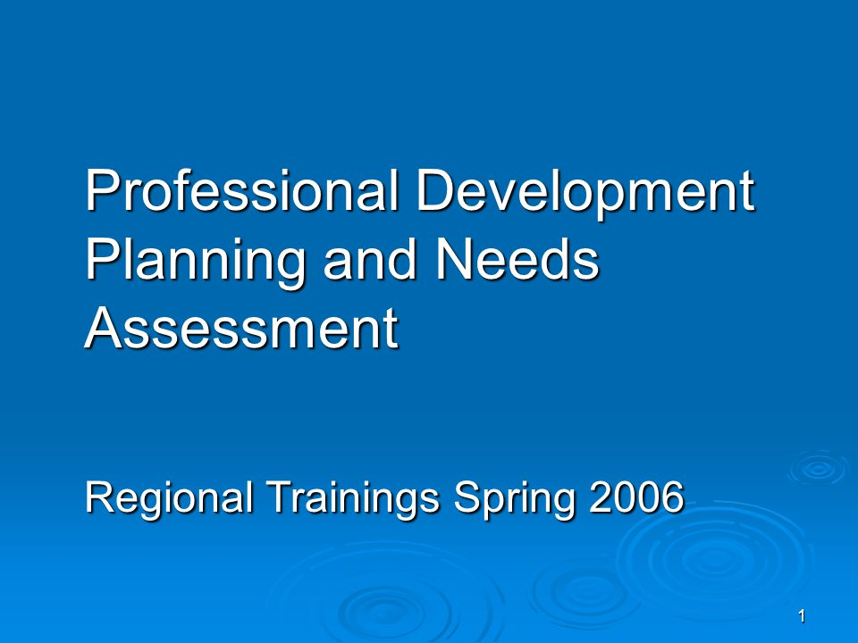 1 Professional Development Planning and Needs Assessment Regional Trainings Spring 2006