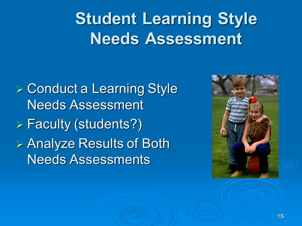 15 Student Learning Style Needs Assessment  Conduct a Learning Style Needs Assessment  Faculty (students )  Analyze Results of Both Needs Assessments
