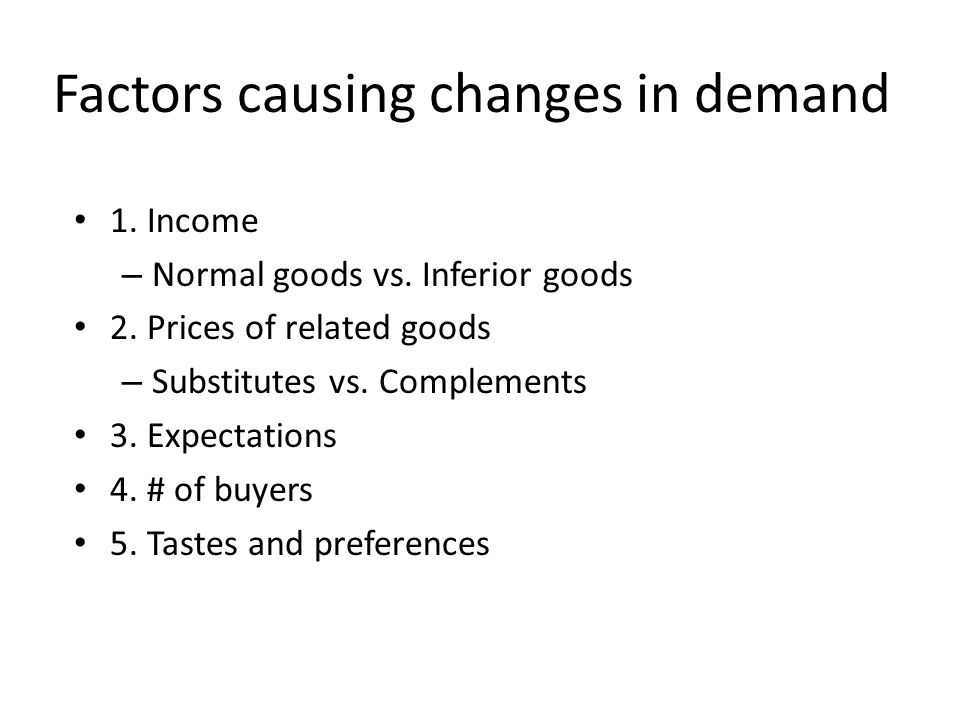 1. Income – Normal goods vs. Inferior goods 2. Prices of related goods – Substitutes vs.