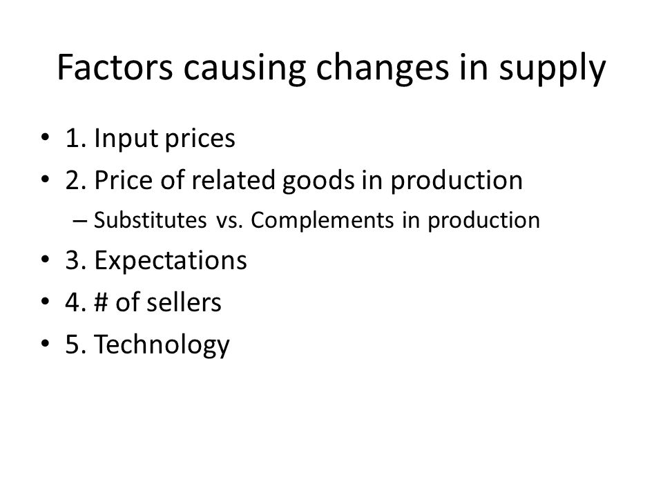 Factors causing changes in supply 1. Input prices 2.
