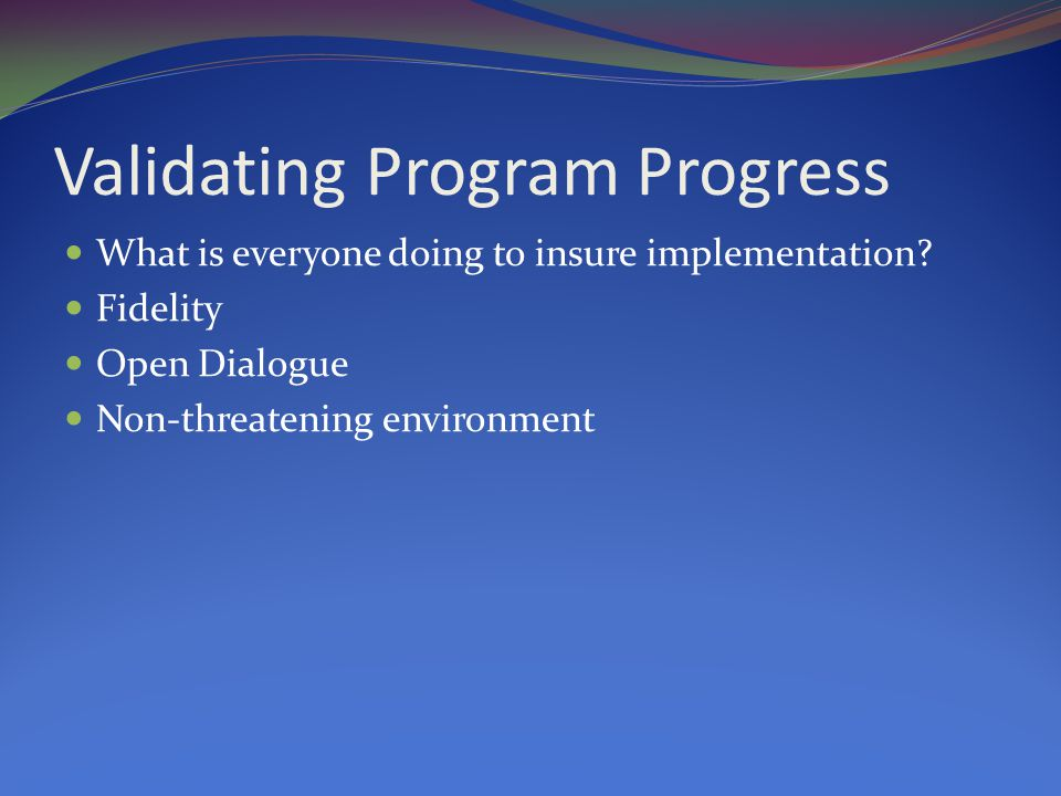 Validating Program Progress What is everyone doing to insure implementation.