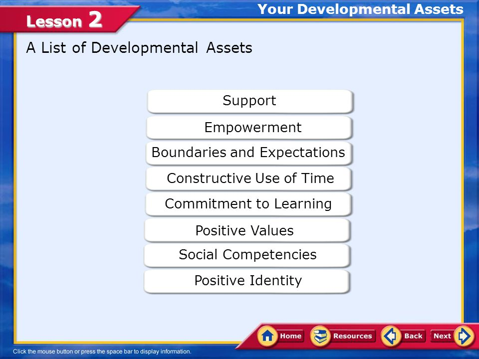 Lesson 2 Your Developmental Assets What Are Developmental Assets.